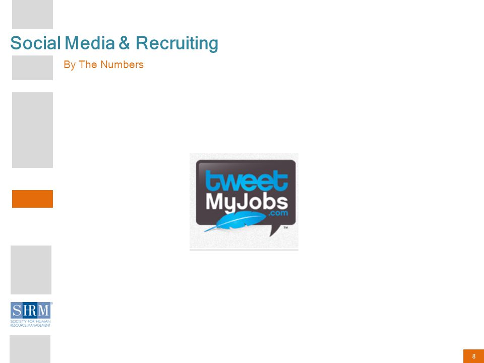 9 Social Media & Recruiting The Numbers According to a recent survey conducted by TweetMyJobs.com: 7 10 7 out of 10 Companies Use Social Media to advertise