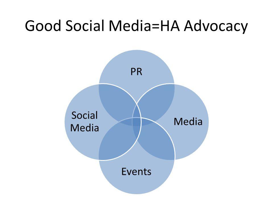 Good Social Media=HA Advocacy PR Media Events Social Media