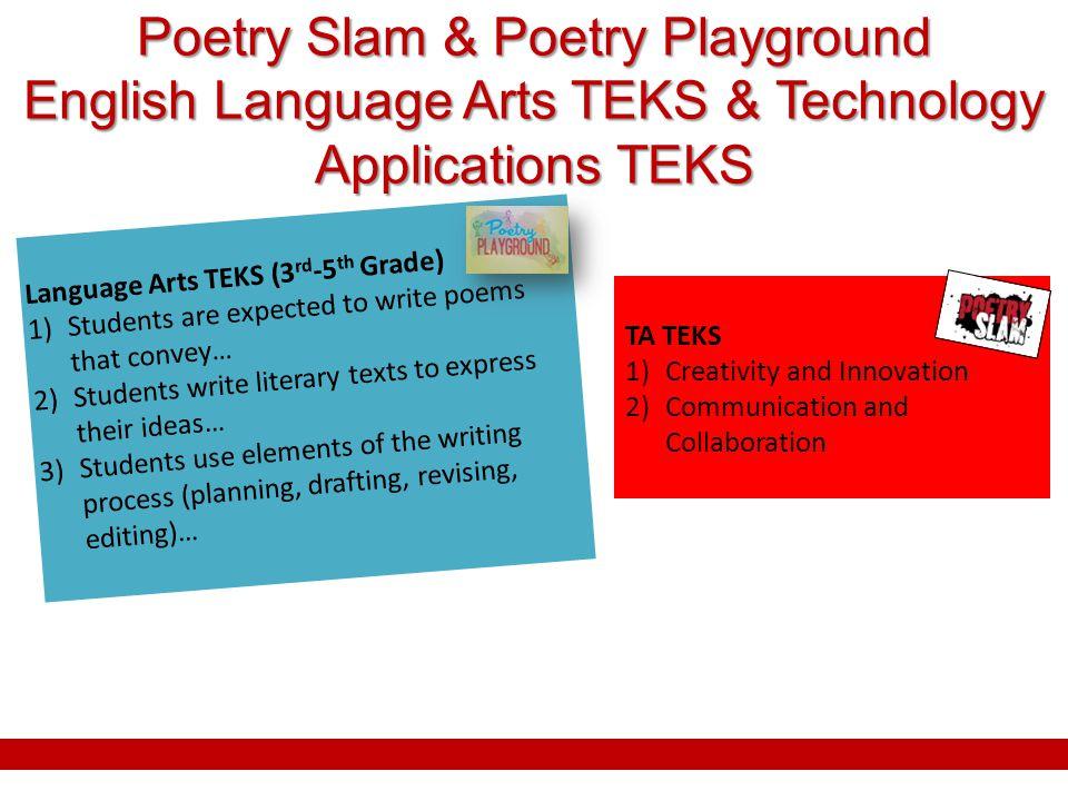 Poetry Slam & Poetry Playground English Language Arts TEKS & Technology Applications TEKS TA TEKS 1)Creativity and Innovation 2)Communication and Coll