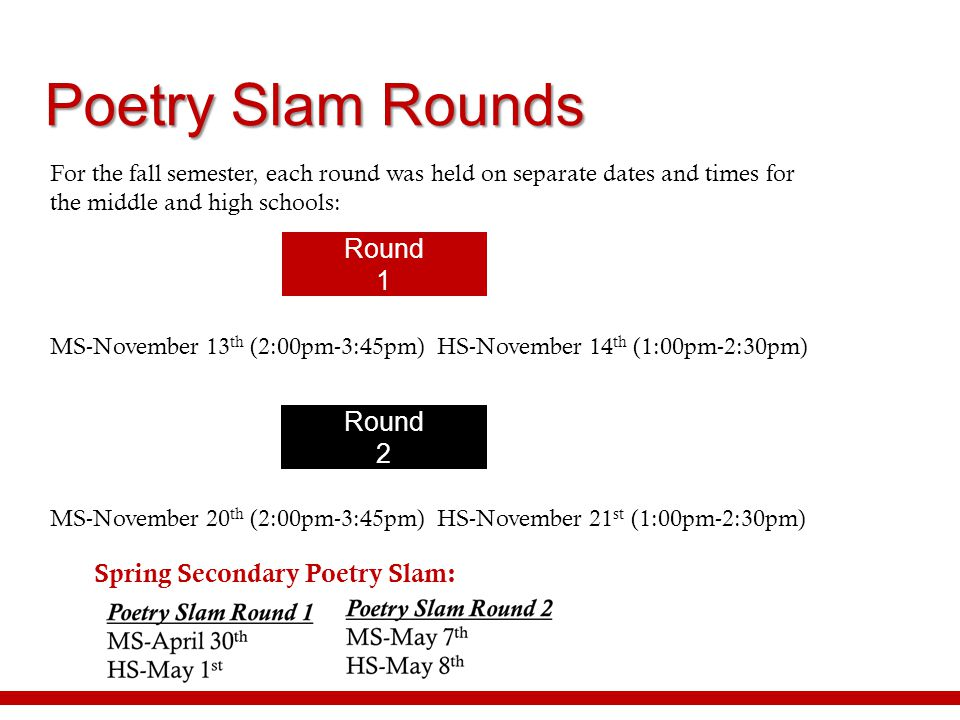 Poetry Slam Rounds For the fall semester, each round was held on separate dates and times for the middle and high schools: MS-November 13 th (2:00pm-3
