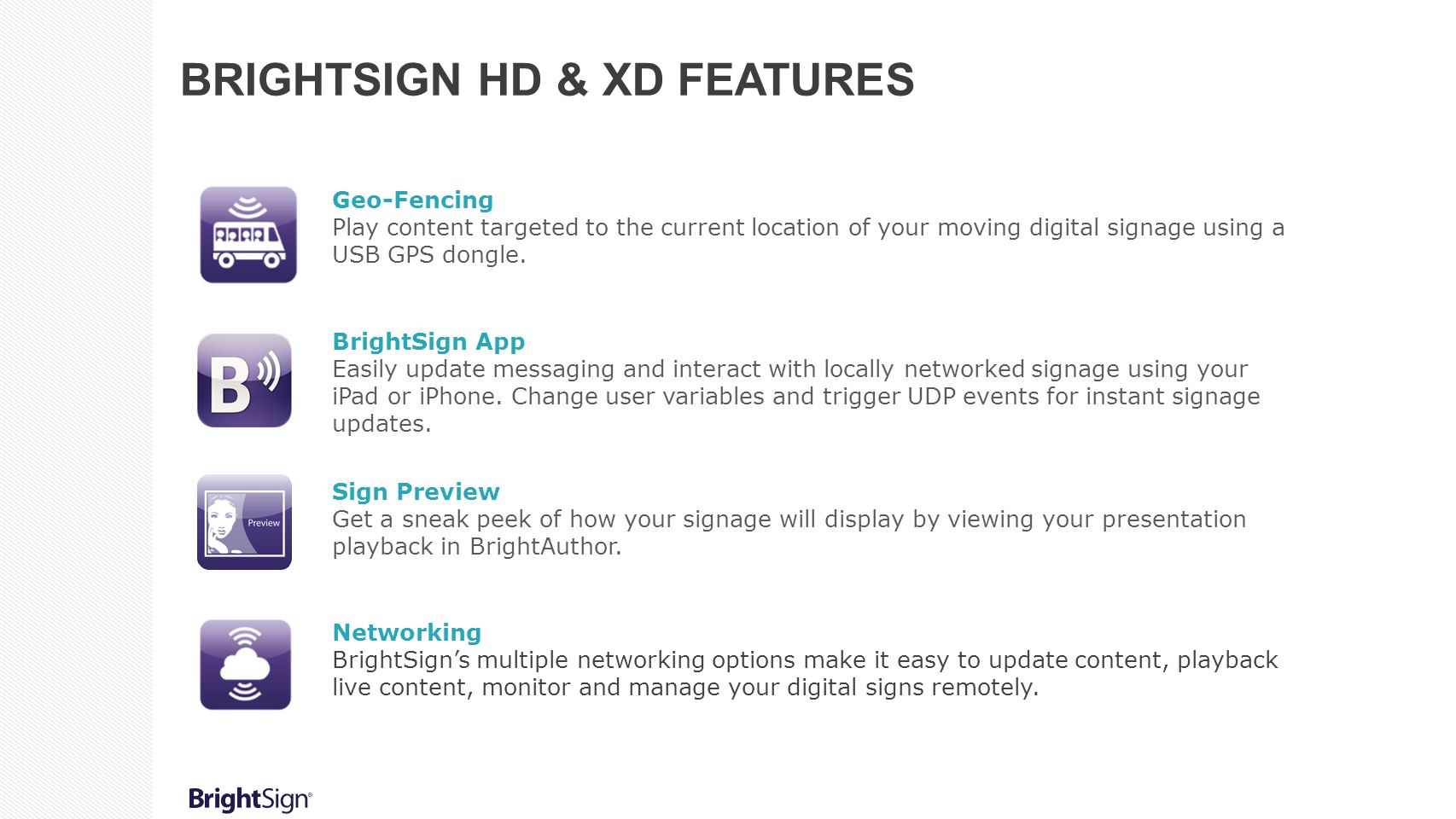 Geo-Fencing Play content targeted to the current location of your moving digital signage using a USB GPS dongle. BrightSign App Easily update messagin