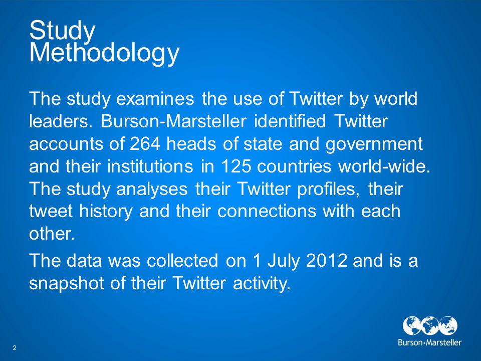 Study Methodology The study examines the use of Twitter by world leaders. Burson-Marsteller identified Twitter accounts of 264 heads of state and gove