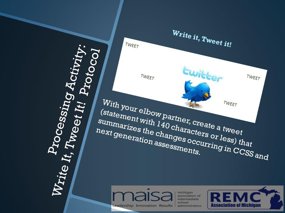 Processing Activity: Write It, Tweet It. Protocol Write it, Tweet it.