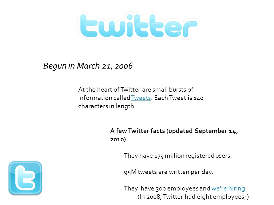 At the heart of Twitter are small bursts of information called Tweets. Each Tweet is 140 characters in length.Tweets A few Twitter facts (updated Sept