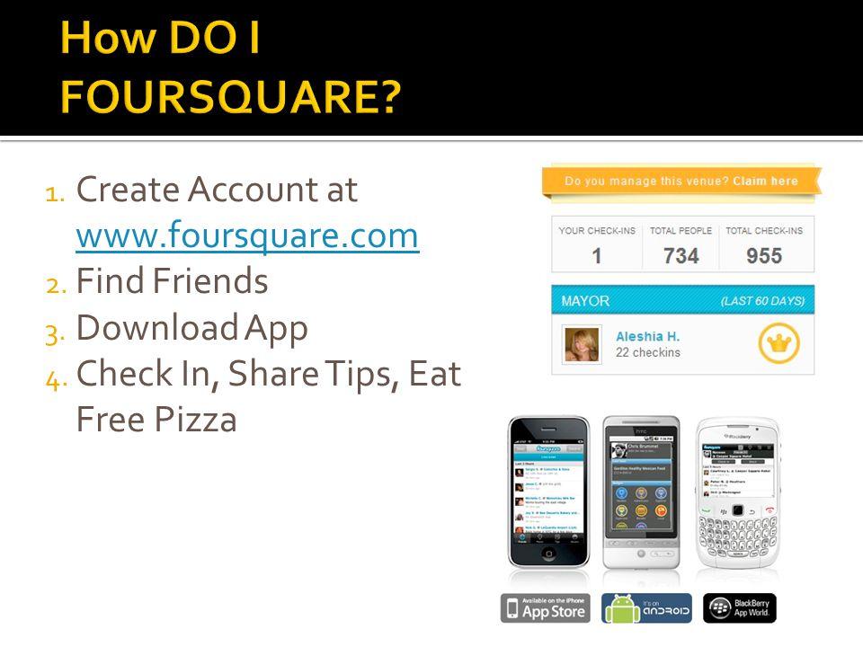 1. Create Account at www.foursquare.com www.foursquare.com 2.