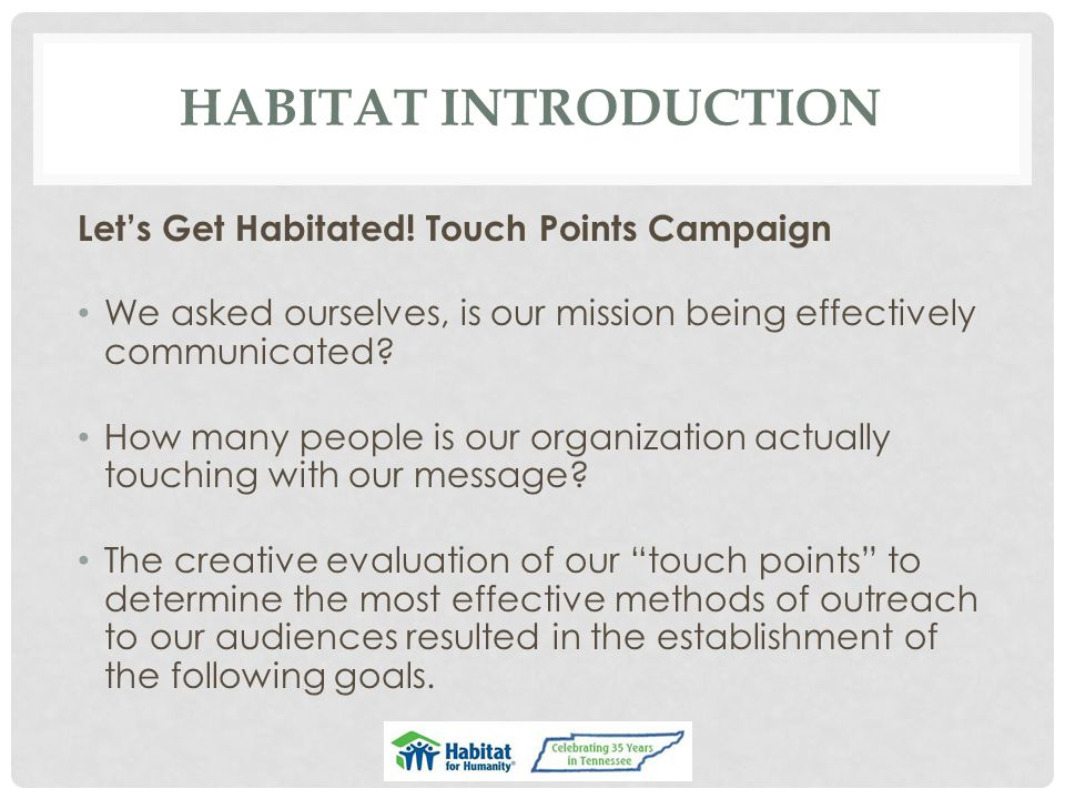 HABITAT INTRODUCTION Let's Get Habitated! Touch Points Campaign We asked ourselves, is our mission being effectively communicated? How many people is