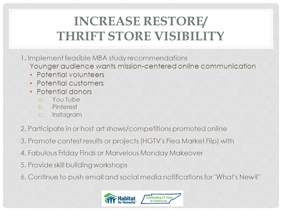 INCREASE RESTORE/ THRIFT STORE VISIBILITY 1.