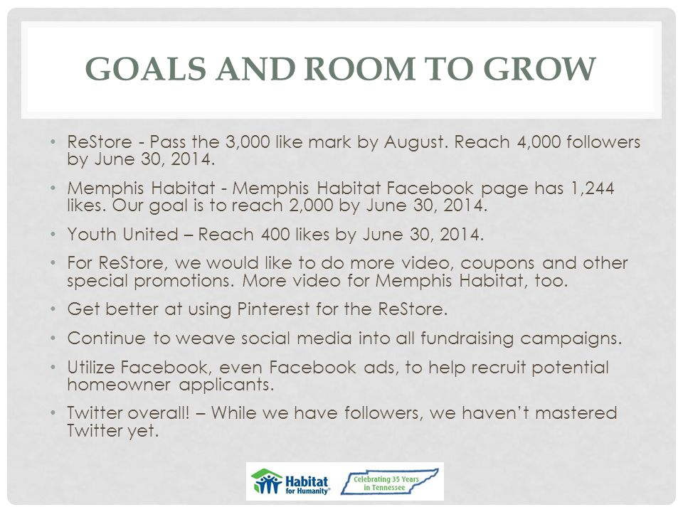 GOALS AND ROOM TO GROW ReStore - Pass the 3,000 like mark by August.