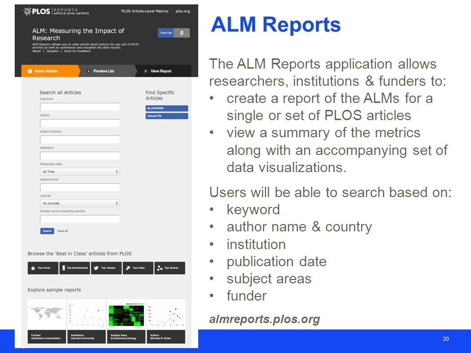 20 ALM Reports The ALM Reports application allows researchers, institutions & funders to: create a report of the ALMs for a single or set of PLOS articles view a summary of the metrics along with an accompanying set of data visualizations.