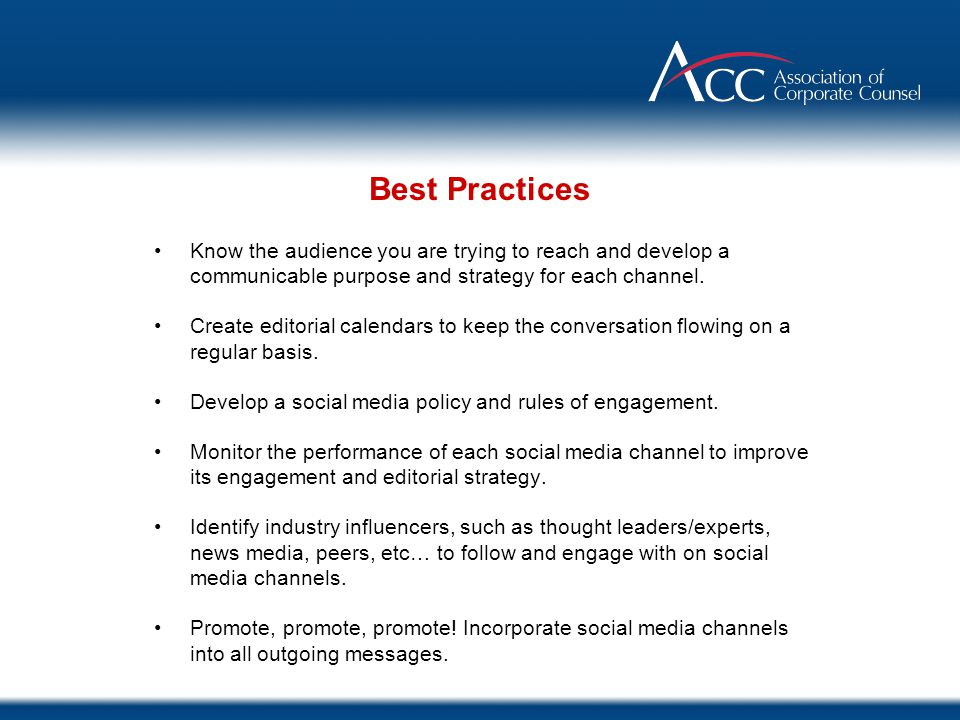 Know the audience you are trying to reach and develop a communicable purpose and strategy for each channel. Create editorial calendars to keep the con