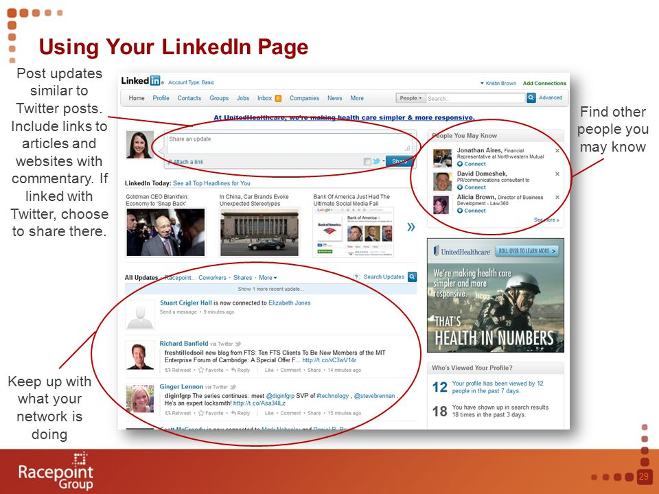 Using Your LinkedIn Page 29 Post updates similar to Twitter posts.