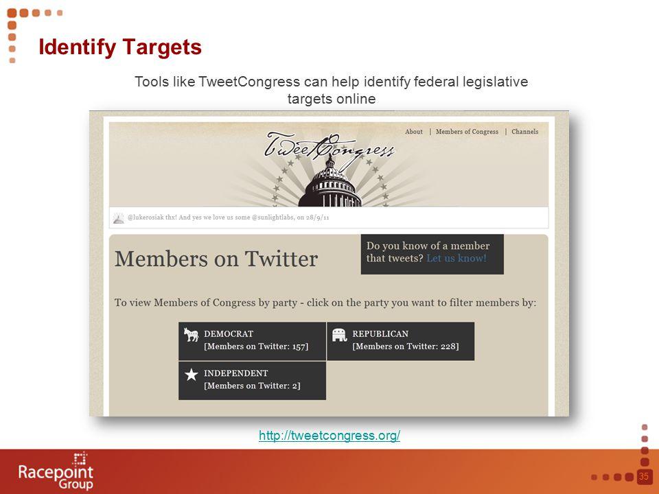 Identify Targets 35 Tools like TweetCongress can help identify federal legislative targets online http://tweetcongress.org/