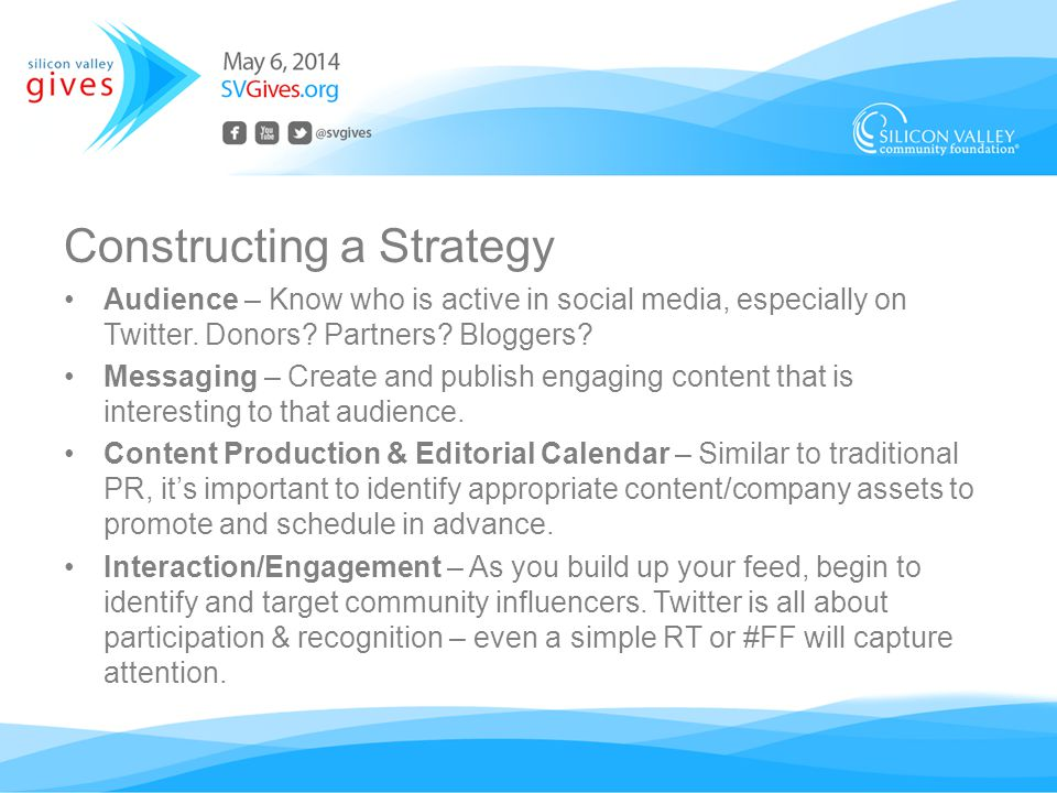 Constructing a Strategy Audience – Know who is active in social media, especially on Twitter.