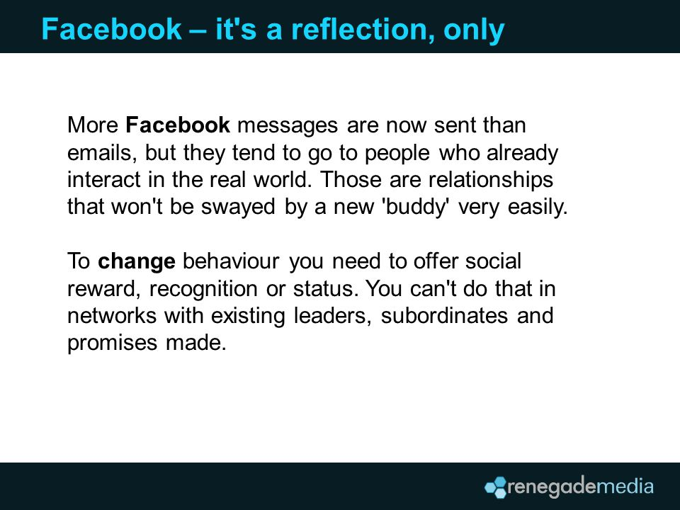 Facebook – it s a reflection, only More Facebook messages are now sent than emails, but they tend to go to people who already interact in the real world.