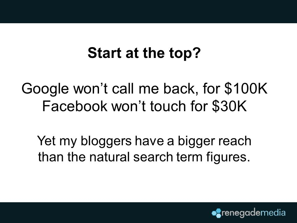 Start at the top? Google won't call me back, for $100K Facebook won't touch for $30K Yet my bloggers have a bigger reach than the natural search term