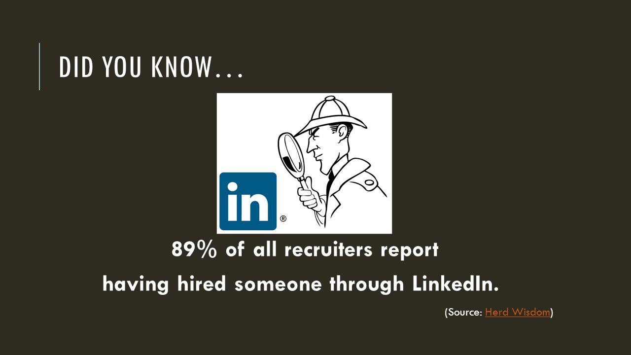 DID YOU KNOW… 89% of all recruiters report having hired someone through LinkedIn.
