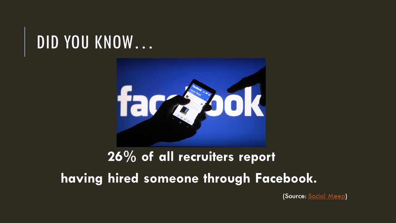 DID YOU KNOW… 26% of all recruiters report having hired someone through Facebook.