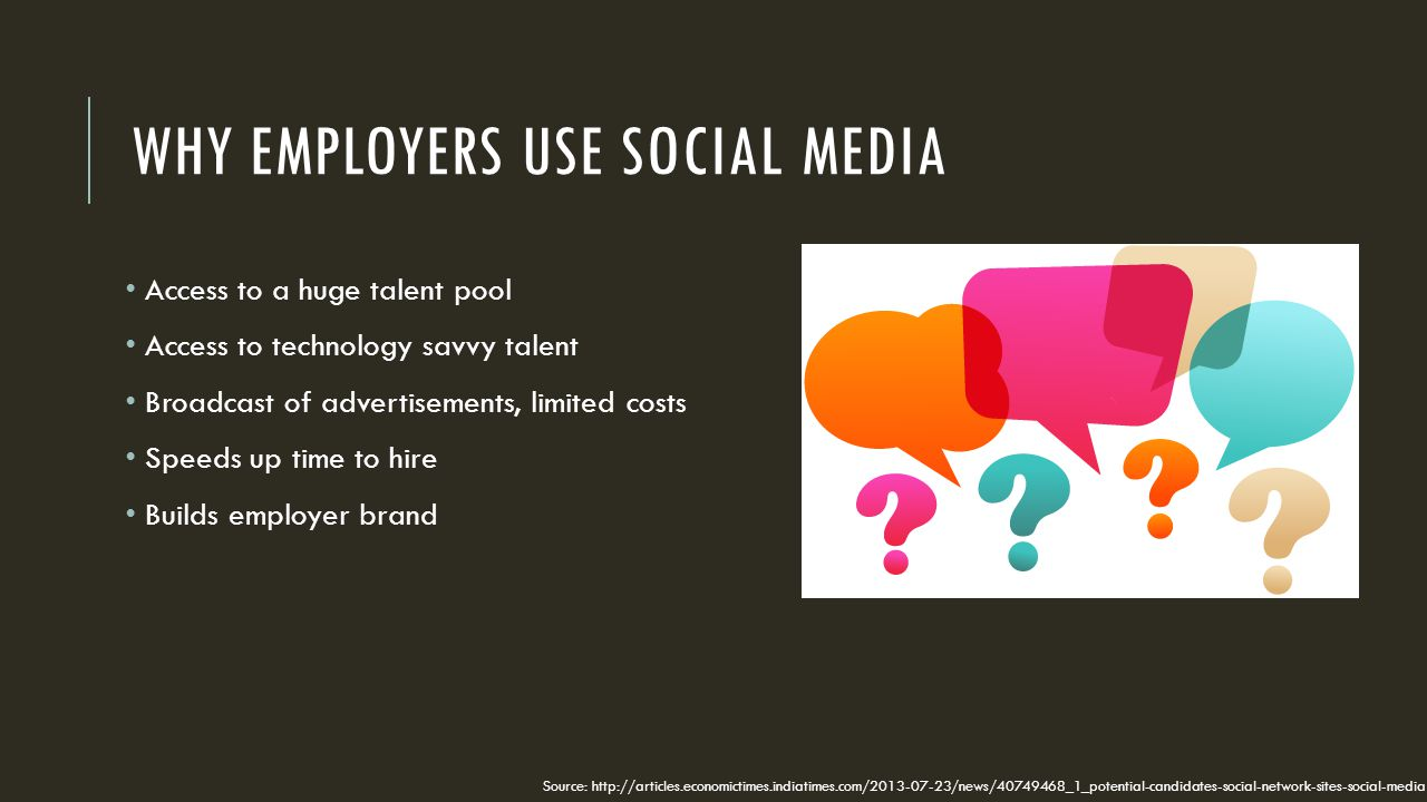 WHY EMPLOYERS USE SOCIAL MEDIA Access to a huge talent pool Access to technology savvy talent Broadcast of advertisements, limited costs Speeds up time to hire Builds employer brand Source: http://articles.economictimes.indiatimes.com/2013-07-23/news/40749468_1_potential-candidates-social-network-sites-social-media