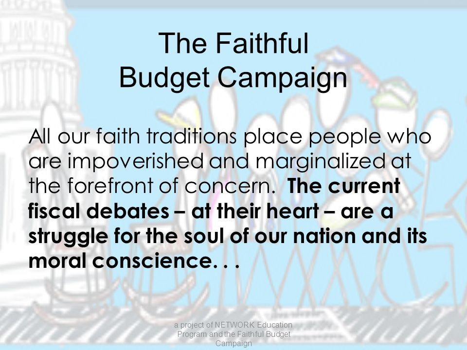 We the Taxpayers The Objective: To help faith communities talk about the intersection of faith and taxes The Tool: Six 1-hour workshops DVD with videos for each of first 5 workshops Printed facilitator's guide Additional support as needed