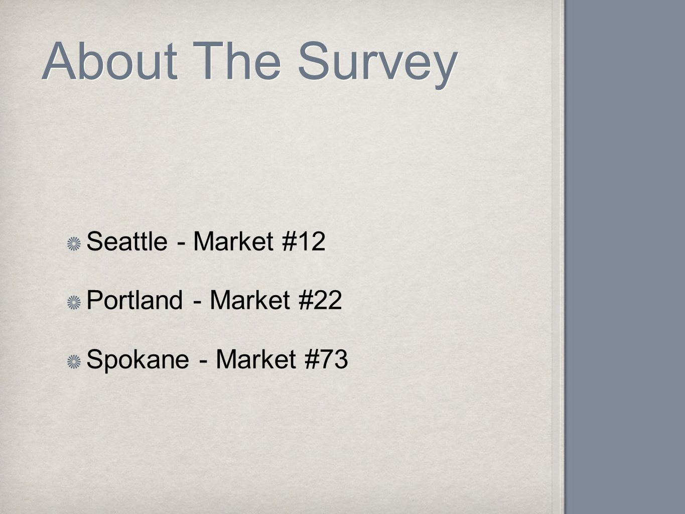 About The Survey Seattle - Market #12 Portland - Market #22 Spokane - Market #73