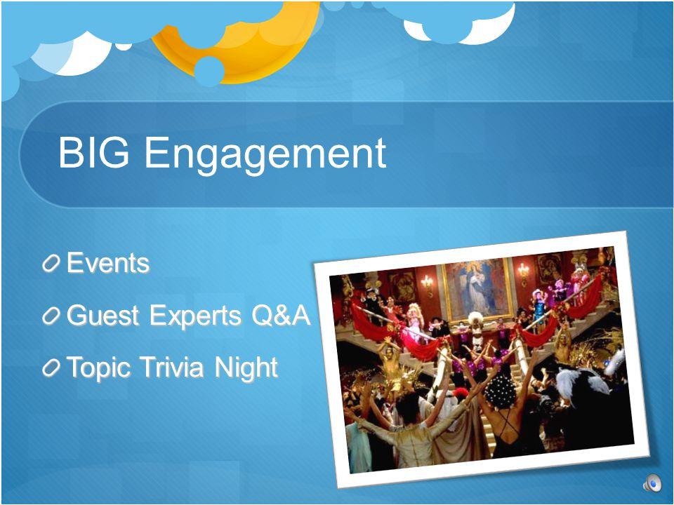 Events Guest Experts Q&A Topic Trivia Night BIG Engagement
