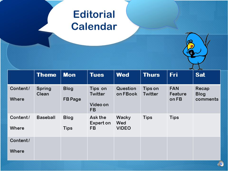 Editorial Calendar ThemeMonTuesWedThursFriSat Content / Where Spring Clean Blog FB Page Tips on Twitter Video on FB Question on FBook Tips on Twitter FAN Feature on FB Recap Blog comments Content / Where BaseballBlog Tips Ask the Expert on FB Wacky Wed VIDEO Tips Content / Where