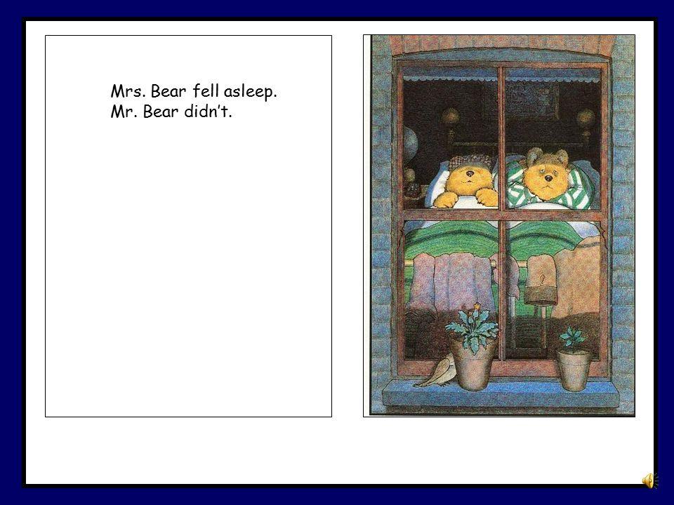 Mrs. Bear fell asleep. Mr. Bear didn't.