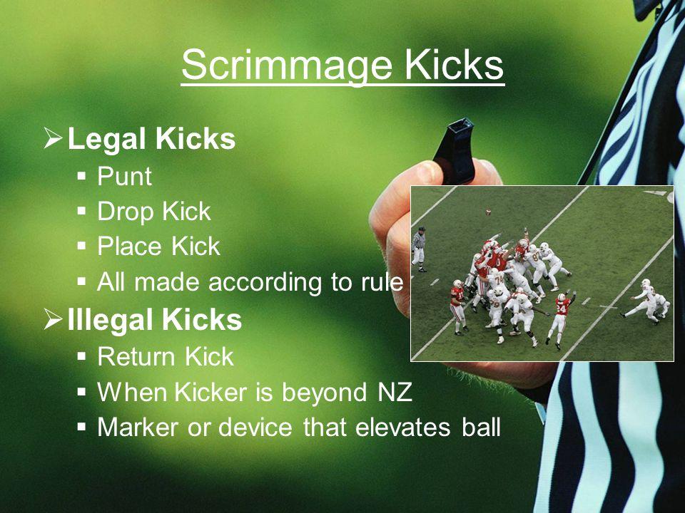 Scrimmage Kicks  Legal Kicks  Punt  Drop Kick  Place Kick  All made according to rule  Illegal Kicks  Return Kick  When Kicker is beyond NZ  Marker or device that elevates ball