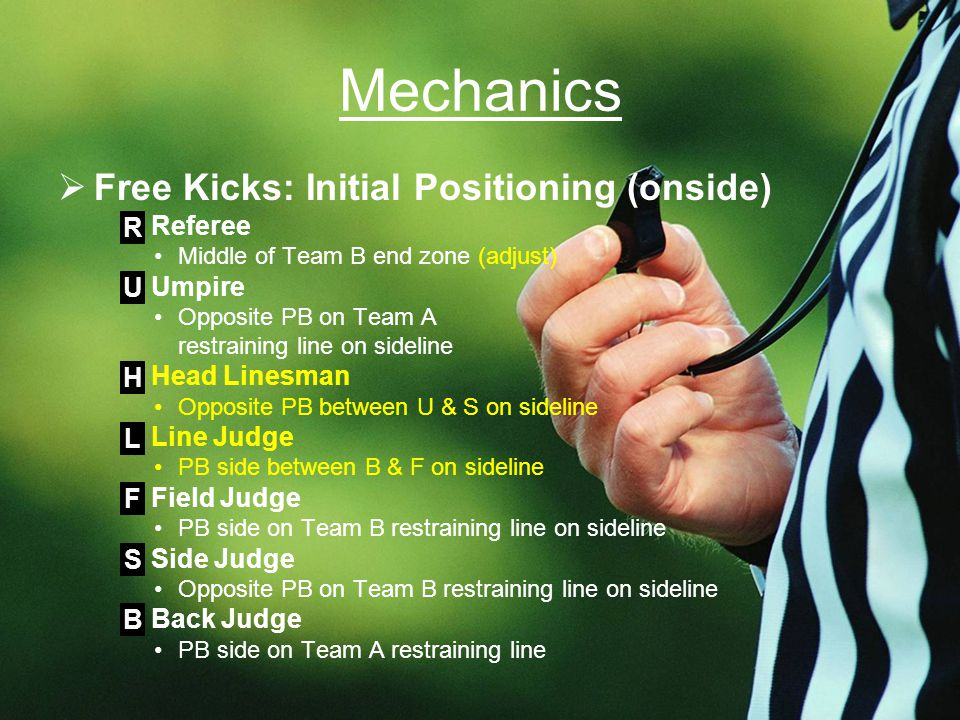 Mechanics  Free Kicks: Initial Positioning (onside) Referee Middle of Team B end zone (adjust) Umpire Opposite PB on Team A restraining line on sideline Head Linesman Opposite PB between U & S on sideline Line Judge PB side between B & F on sideline Field Judge PB side on Team B restraining line on sideline Side Judge Opposite PB on Team B restraining line on sideline Back Judge PB side on Team A restraining line R U H L F S B
