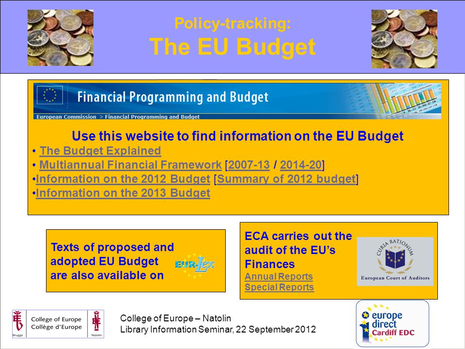 College of Europe – Natolin Library Information Seminar, 22 September 2012 Policy-tracking: The EU Budget Use this website to find information on the EU Budget The Budget Explained Multiannual Financial Framework [2007-13 / 2014-20]Multiannual Financial Framework2007-132014-20 Information on the 2012 Budget [Summary of 2012 budget]Information on the 2012 BudgetSummary of 2012 budget Information on the 2013 BudgetInformation on the 2013 Budget Texts of proposed and adopted EU Budget are also available on ECA carries out the audit of the EU's Finances Annual Reports Special Reports