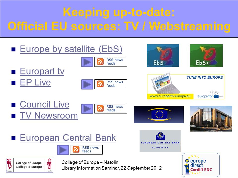 College of Europe – Natolin Library Information Seminar, 22 September 2012 Europe by satellite (EbS) Europarl tv EP Live Council Live TV Newsroom European Central Bank Keeping up-to-date: Official EU sources: TV / Webstreaming