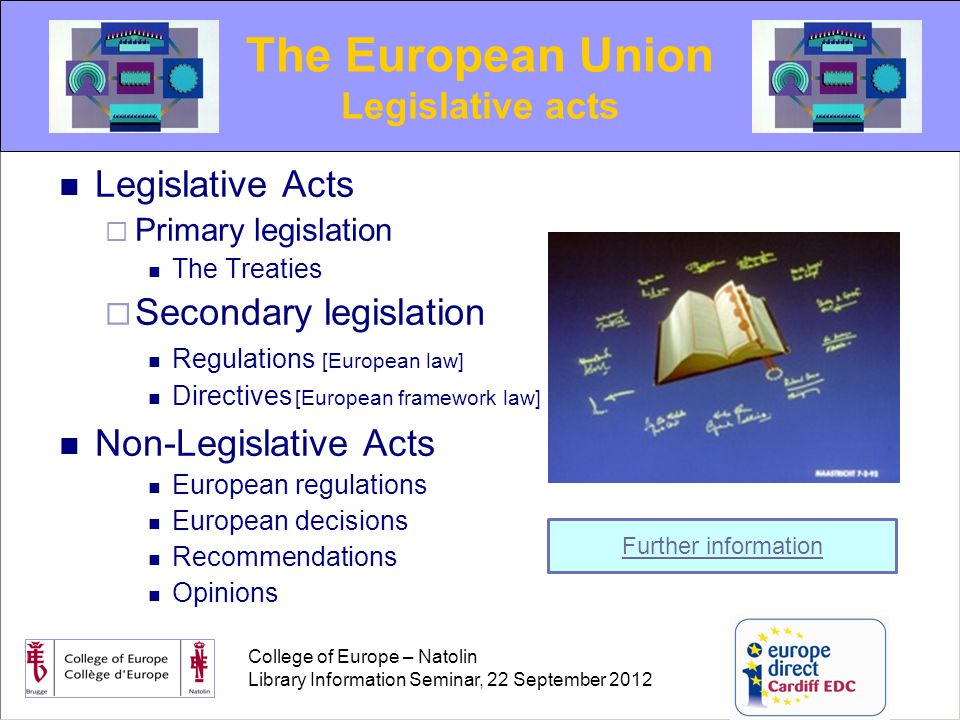 College of Europe – Natolin Library Information Seminar, 22 September 2012 The Courts  European Court of Justice (C cases)  General Court [formerly ECFI] (T cases)  Civil Service Tribunal (F cases) Judicial acts  Judgments  Opinions  Orders The European Union: Judicial Decisions