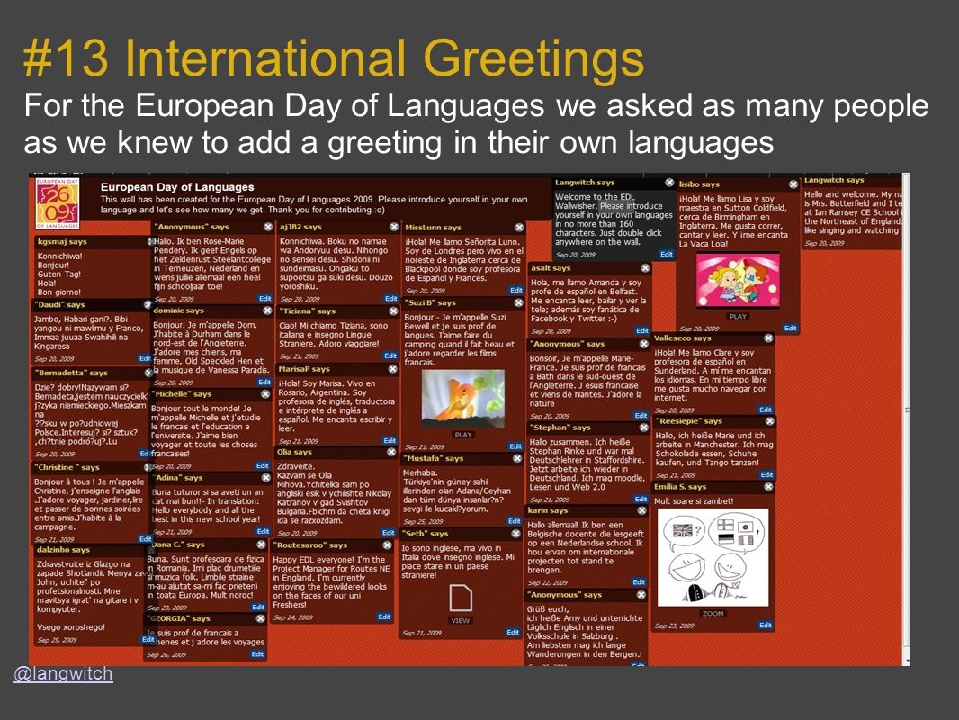 #13 International Greetings For the European Day of Languages we asked as many people as we knew to add a greeting in their own languages @langwitch