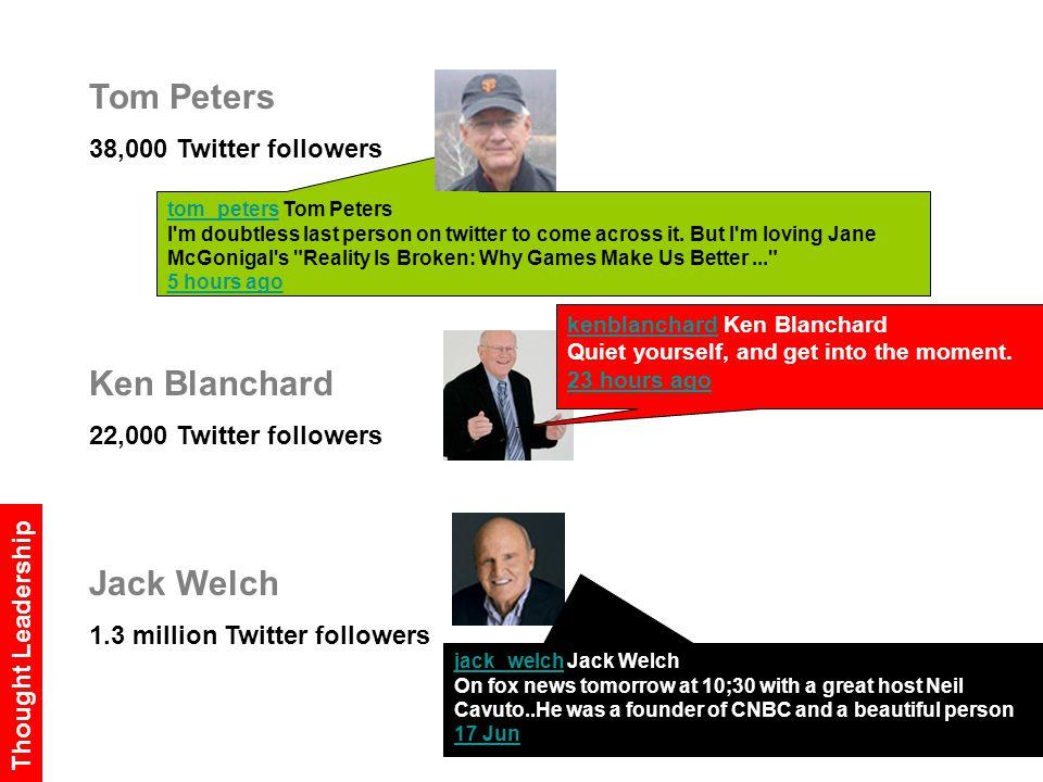 Tom Peters 38,000 Twitter followers Ken Blanchard 22,000 Twitter followers Jack Welch 1.3 million Twitter followers tom_peterstom_peters Tom Peters I m doubtless last person on twitter to come across it.