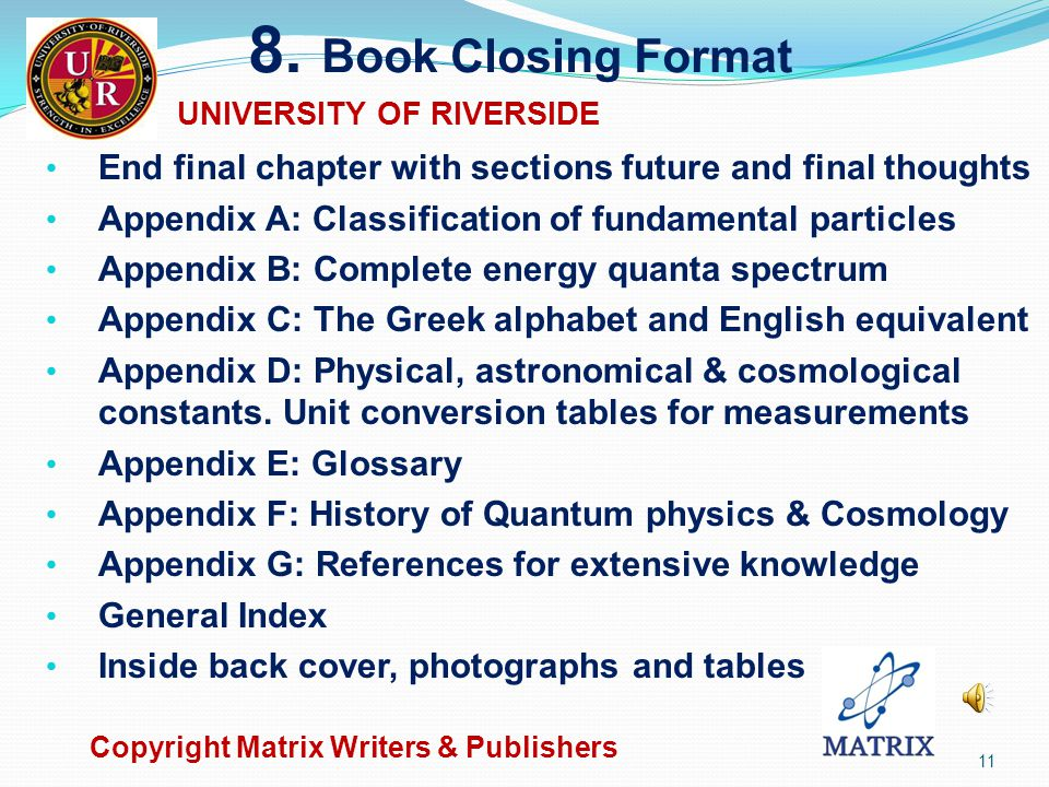 7. Chapter & Term Index Auto insert: Chapter index, table of figures (TOF) & table (list) of tables (TOT) Create Chapter title, table description, fig