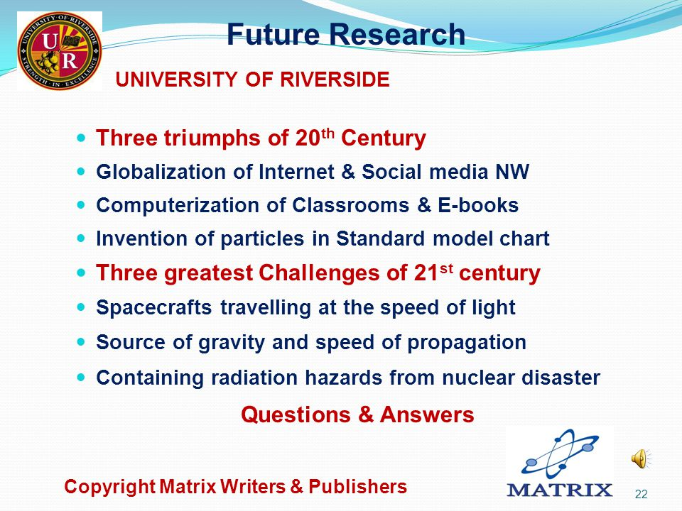 Copyright Matrix Writers & Publishers 21 Shailesh (Sky) Kadakia US Citizen UNIVERSITY OF RIVERSIDE