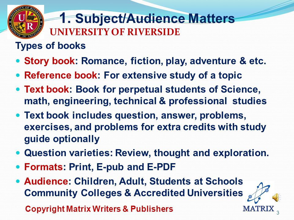 Contents 1. Subject/Audience Matters.…………...…….……........3 2.