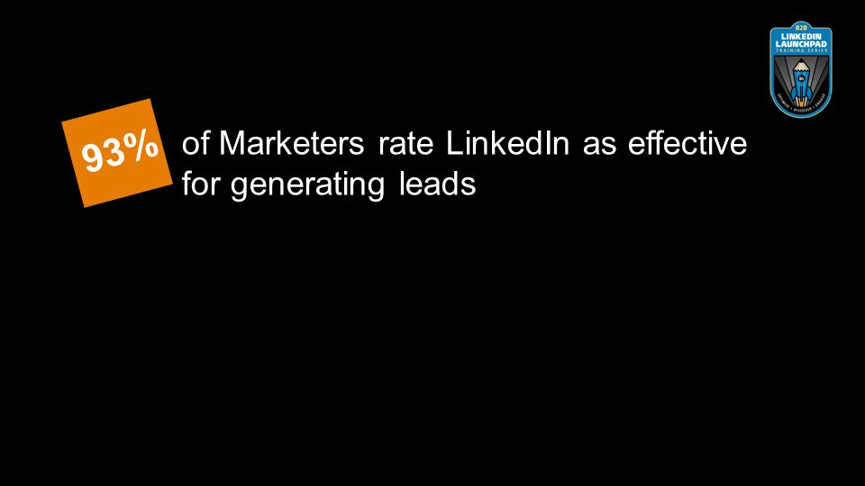 of Marketers rate LinkedIn as effective for generating leads 93%