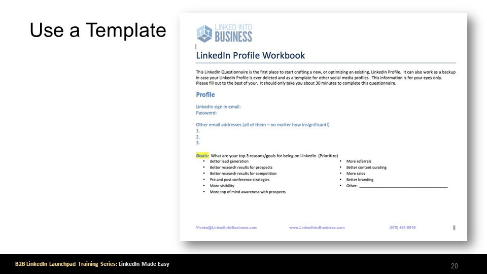 B2B LinkedIn Launchpad Training Series: LinkedIn Made Easy Use a Template 20