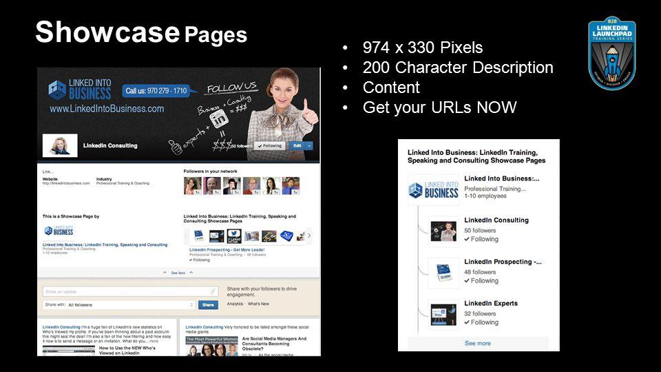974 x 330 Pixels 200 Character Description Content Get your URLs NOW Showcase Pages