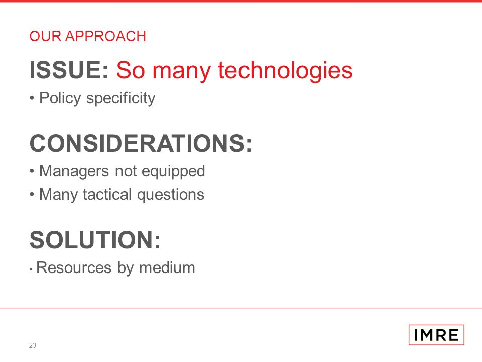 23 OUR APPROACH ISSUE: So many technologies Policy specificity CONSIDERATIONS: Managers not equipped Many tactical questions SOLUTION: Resources by medium