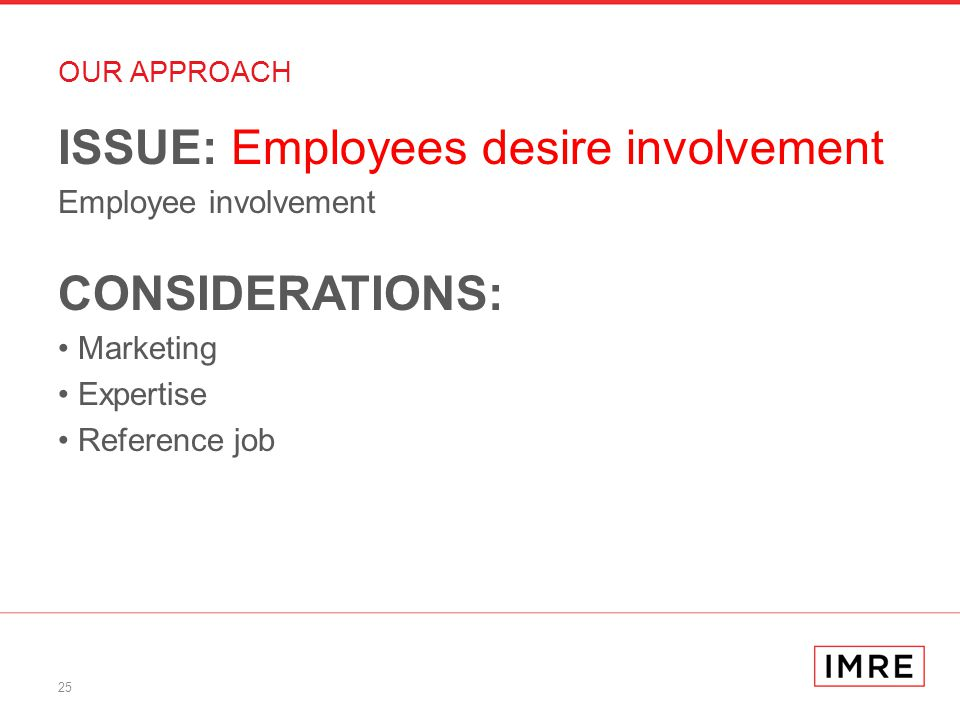 25 OUR APPROACH ISSUE: Employees desire involvement Employee involvement CONSIDERATIONS: Marketing Expertise Reference job