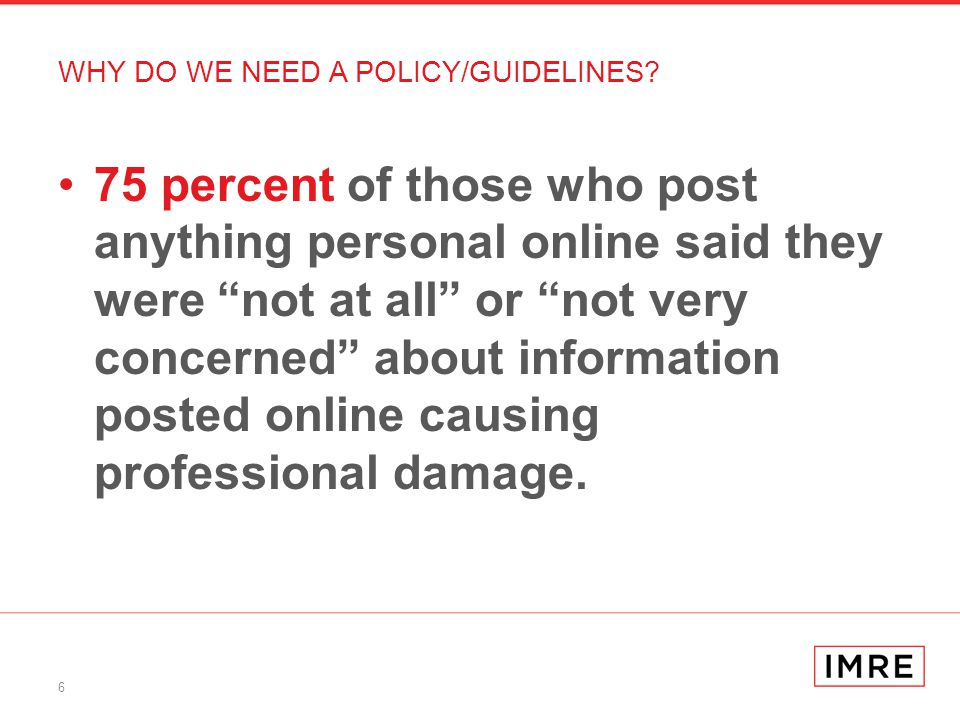 6 75 percent of those who post anything personal online said they were not at all or not very concerned about information posted online causing professional damage.