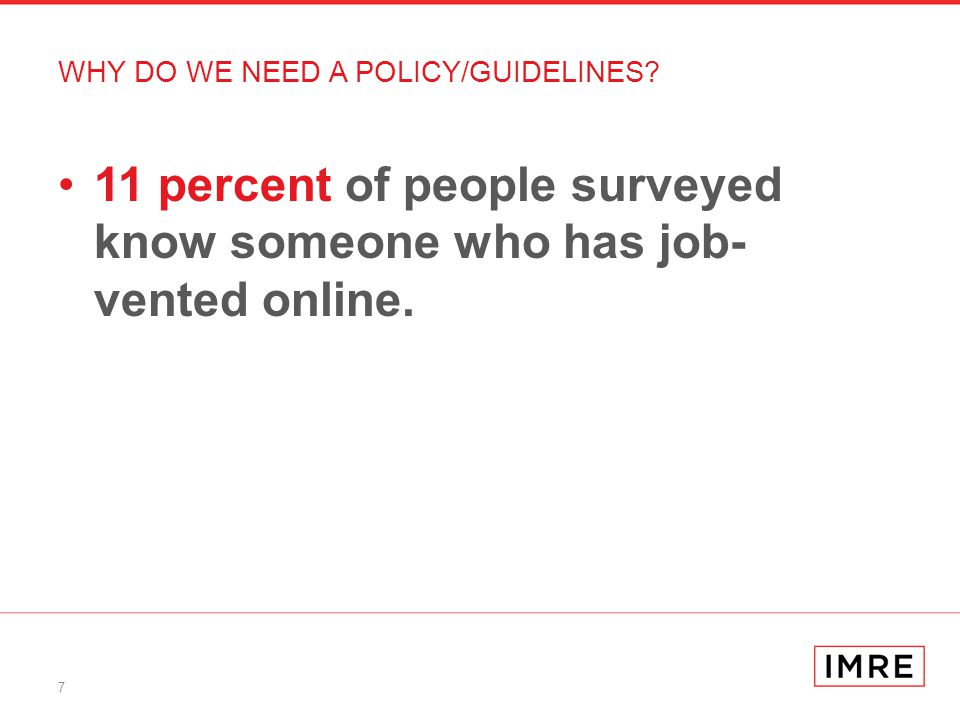 7 11 percent of people surveyed know someone who has job- vented online.