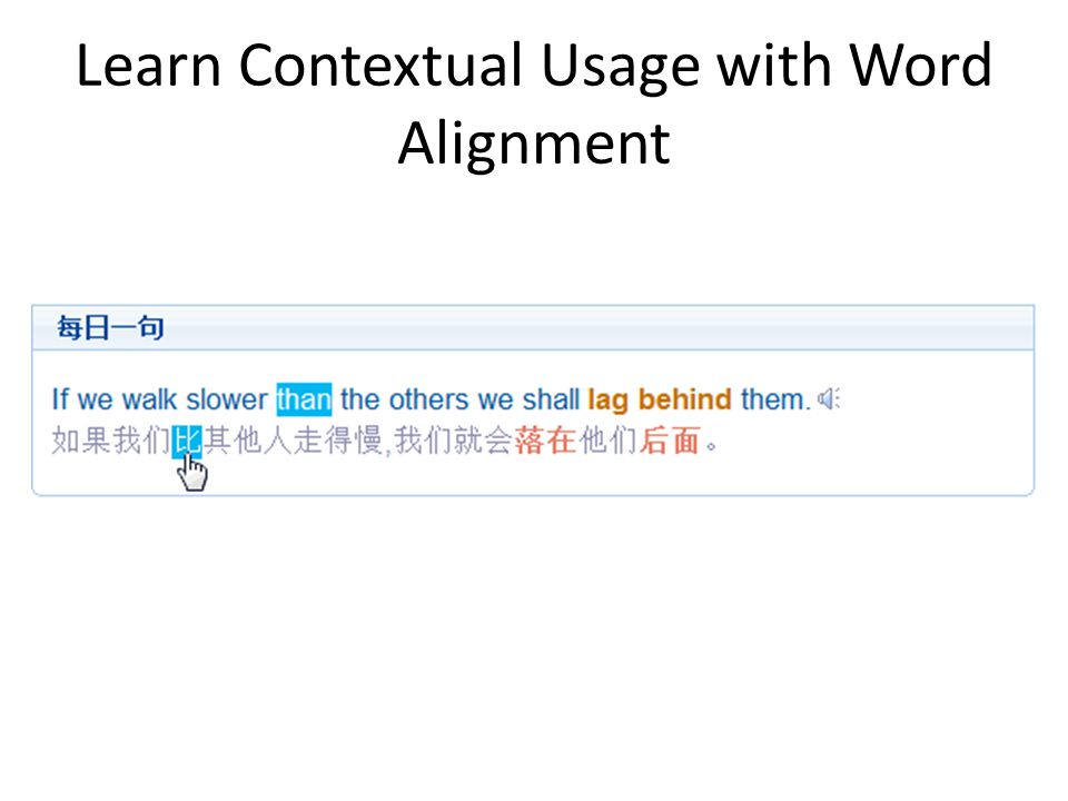 Learn Contextual Usage with Word Alignment