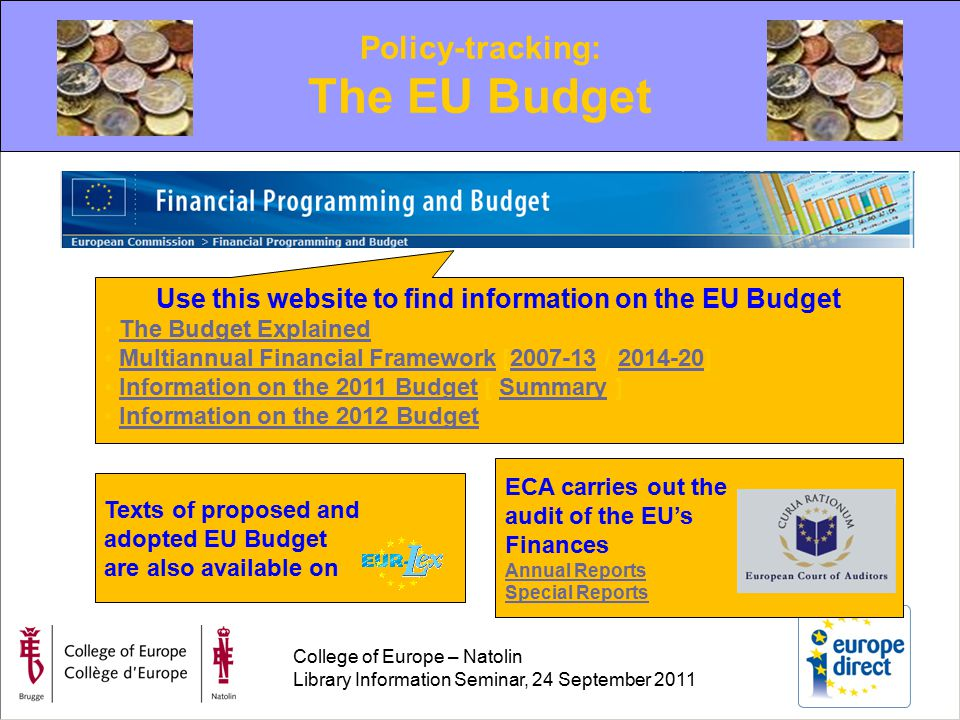 College of Europe – Natolin Library Information Seminar, 24 September 2011 Policy-tracking: The EU Budget Use this website to find information on the EU Budget The Budget Explained Multiannual Financial Framework [2007-13 / 2014-20]Multiannual Financial Framework2007-132014-20 Information on the 2011 Budget [ Summary ]Information on the 2011 BudgetSummary Information on the 2012 Budget Texts of proposed and adopted EU Budget are also available on ECA carries out the audit of the EU's Finances Annual Reports Special Reports