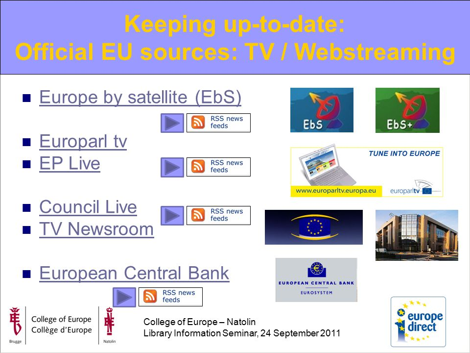 College of Europe – Natolin Library Information Seminar, 24 September 2011 Europe by satellite (EbS) Europarl tv EP Live Council Live TV Newsroom European Central Bank Keeping up-to-date: Official EU sources: TV / Webstreaming