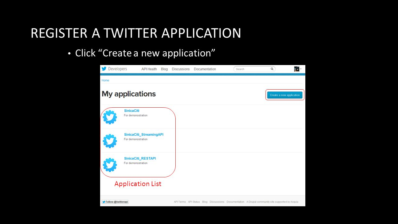 REGISTER A TWITTER APPLICATION Click Create a new application Application List