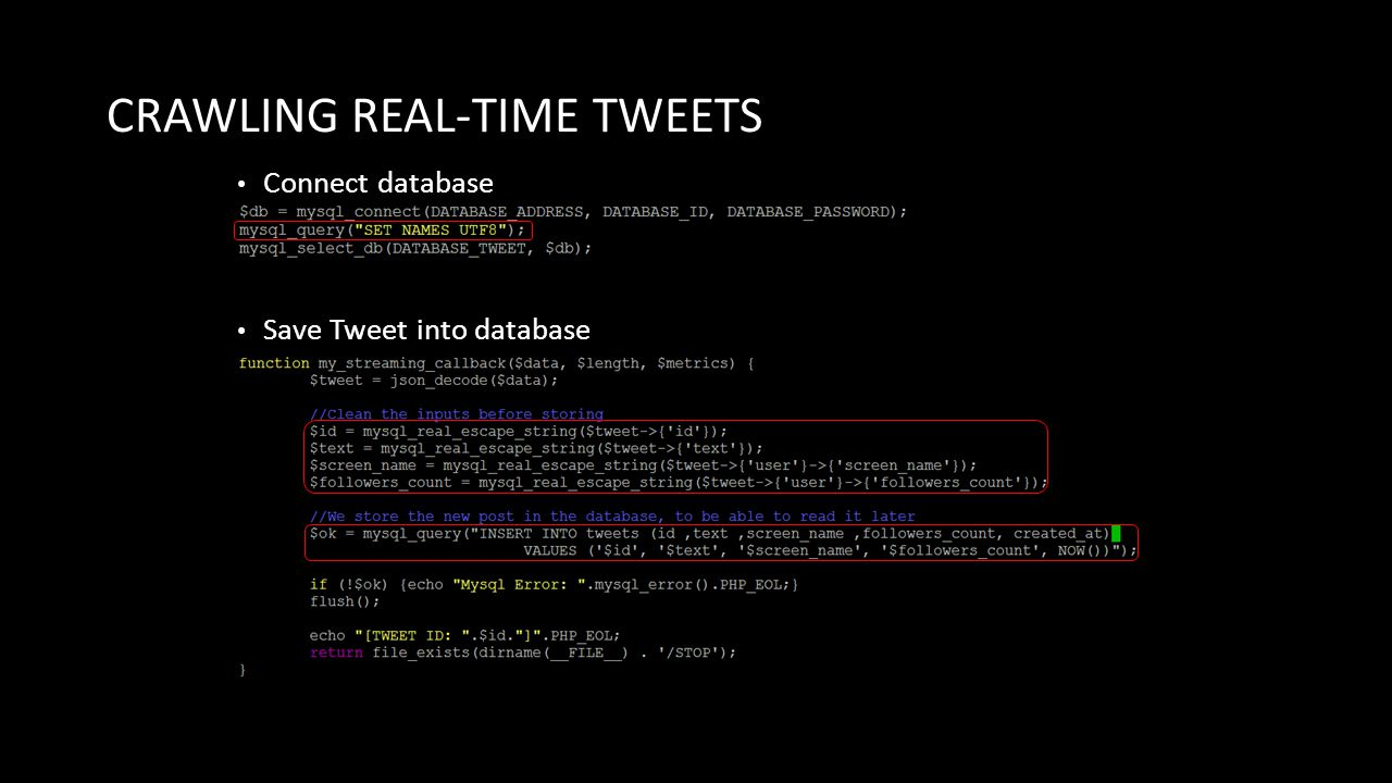 CRAWLING REAL-TIME TWEETS Connect database Save Tweet into database