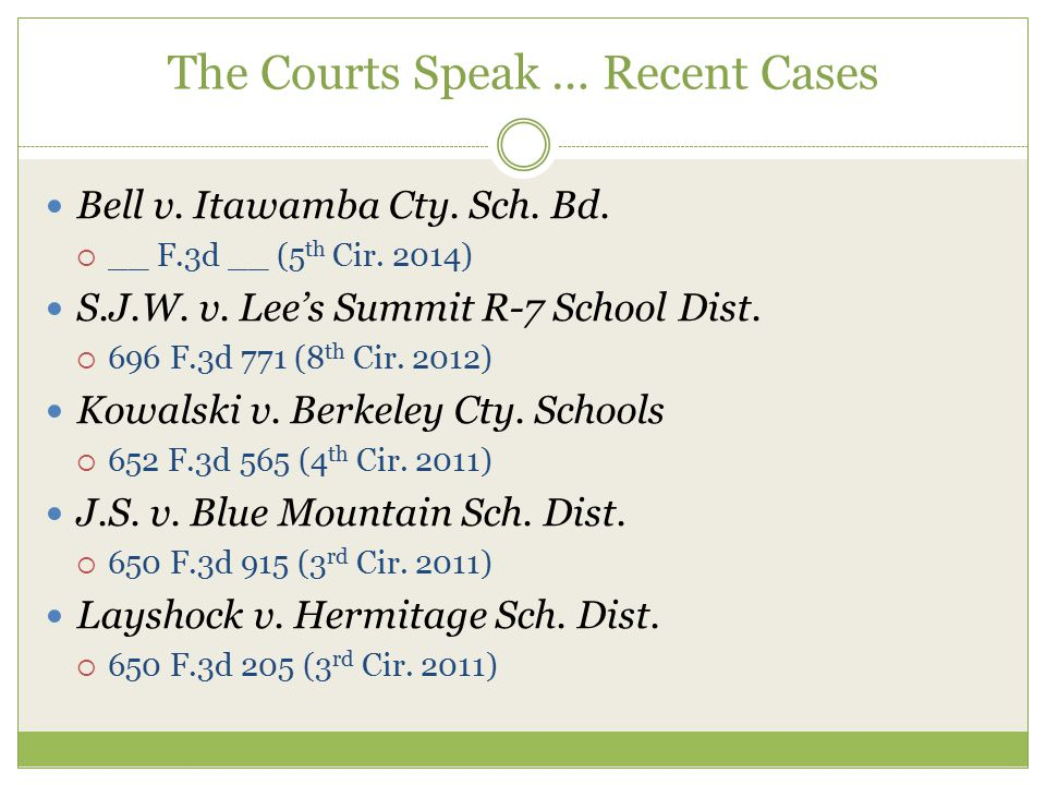The Courts Speak … Recent Cases Bell v. Itawamba Cty.